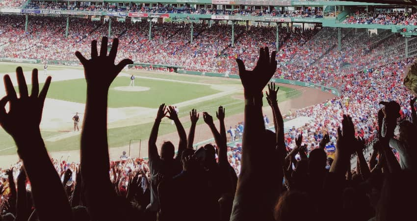 A stadium full of fans during a Red Sox game