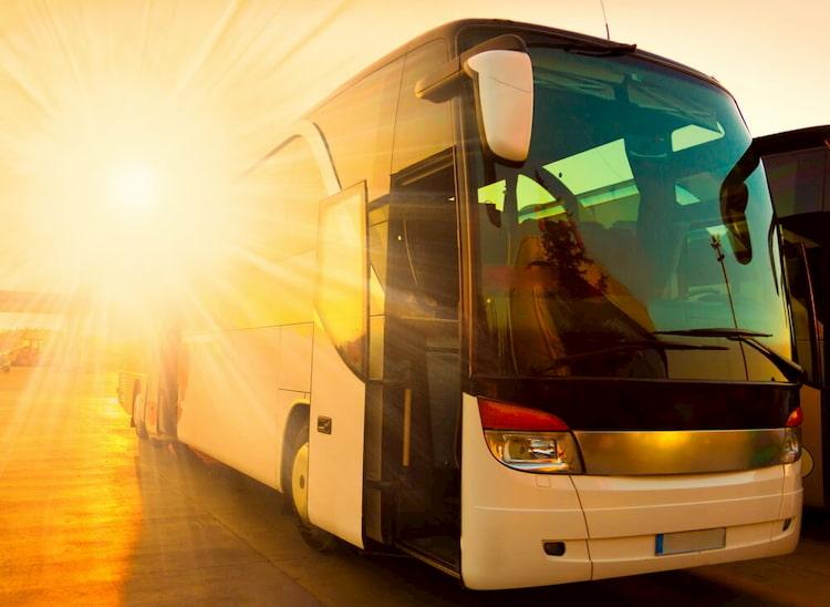 a charter bus prepares for a school trip in boston